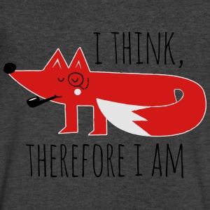 Fox Philosophy quote i think therefore i am geek Long Sleeve Shirts - Men's V-Neck T-Shirt by Canvas