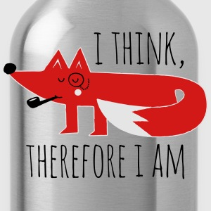 Fox Philosophy quote i think therefore i am geek T-Shirts - Water Bottle
