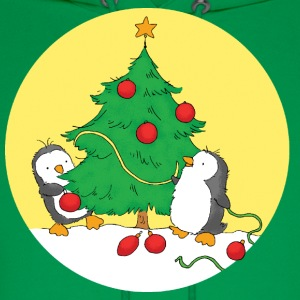 Penguins decorating christmas tree - Men's Hoodie