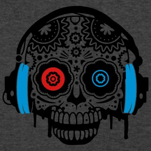 A Sugar Skull with headphones  Long Sleeve Shirts - Men's V-Neck T-Shirt by Canvas