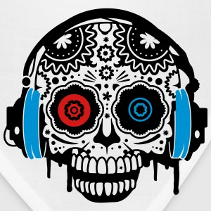 A Sugar Skull with headphones  Tanks - Bandana
