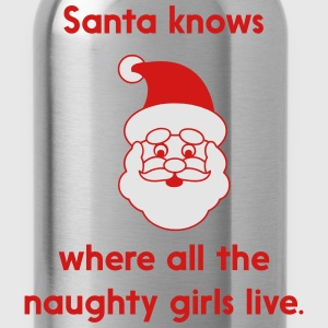 Santa knows where at the naughty girls live T-Shirts - Water Bottle