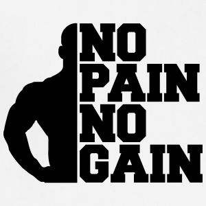 No Pain No Gain Bodybuilding Logo Design T-Shirts - Adjustable Apron
