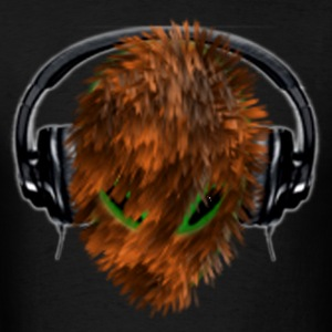 Cute Furry Alien DJ with Headphones - Men's T-Shirt