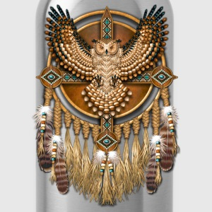 Beadwork Great Horned Owl Mandala - Water Bottle