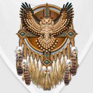 Beadwork Great Horned Owl Mandala - Bandana