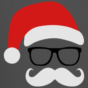Funny Santa Claus with nerd glasses and mustache Tanks - Trucker Cap