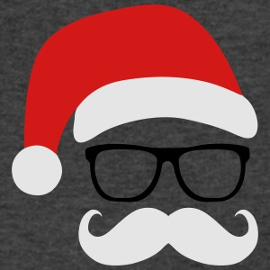 Funny Santa Claus with nerd glasses and mustache Tanks - Men's V-Neck T-Shirt by Canvas