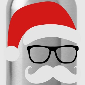 Funny Santa Claus with nerd glasses and mustache Tanks - Water Bottle