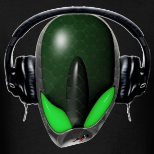 Green Reptoid Alien  Pissed Off DJ in Headphones - Men's T-Shirt