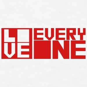 LOVE EVERYONE (red letters) Bottles & Mugs - Men's T-Shirt