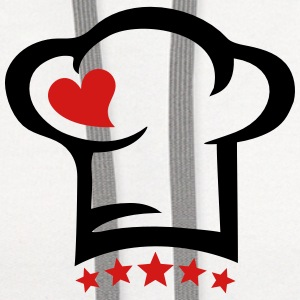 Cook Heart, 5 stars, Chef hat, gift, birthday, mom Women's T-Shirts - Contrast Hoodie