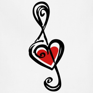 Note music heart classic, treble clef, violin Women's T-Shirts - Adjustable Apron