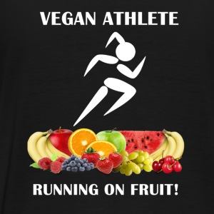 Vegan Athlete Girl Running on Fruit 2 Women's Hood - Men's Premium T-Shirt