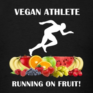 Vegan Athlete Man Running on Fruit 2 Men's Sweatsh - Men's T-Shirt
