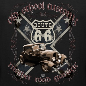 oldschool customs Route 66 road hot rod rod T-Shirts - Men's Premium Tank