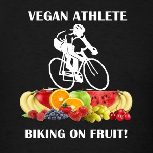 Vegan Athlete Biking on Fruit 2 Women's Fitted Tan - Men's T-Shirt