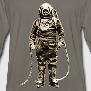 Vintage Diver with Diving Helmet and Equipment - Men's Premium Long Sleeve T-Shirt