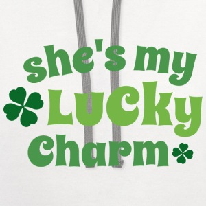 Irish Couples She's My Lucky Charm T-Shirts - Contrast Hoodie