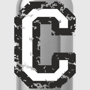 Letter C T-Shirt (Men) Black/White - Water Bottle