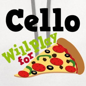Cello Funny Pizza Music Quote Women's T-Shirts - Contrast Hoodie