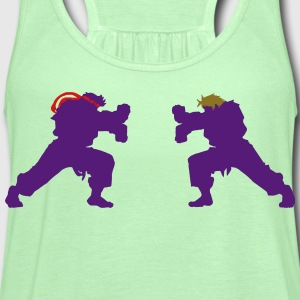 Ryu and Ken Hadouken Silhouettes T-Shirts - Women's Flowy Tank Top by Bella