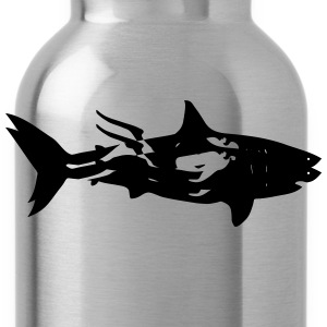 shark scuba diver diving whale dolphin manta Long Sleeve Shirts - Water Bottle