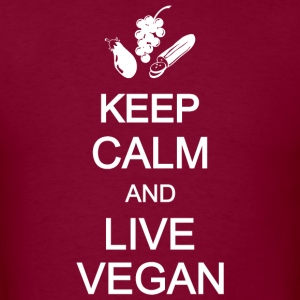 keep calm healthy live eat vegan vegetarian Hoodies - Men's T-Shirt