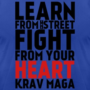 Learn Krav Maga black with red - Men's T-Shirt by American Apparel