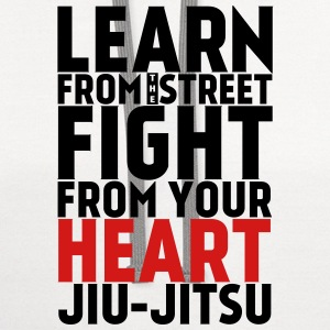 Learn Jiu Jitsu black with red - Contrast Hoodie