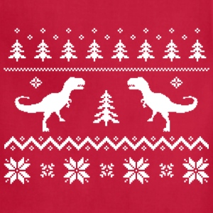 Ugly T-Rex Dinosaur Christmas Sweater T-Shirts - Adjustable Apron