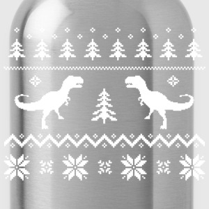 Ugly T-Rex Dinosaur Christmas Sweater T-Shirts - Water Bottle