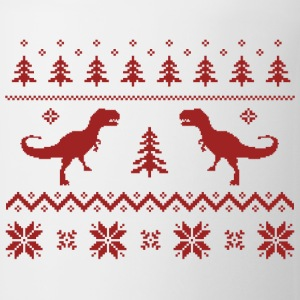 Ugly T-Rex Dinosaur Christmas Sweater T-Shirts - Coffee/Tea Mug