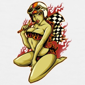 Hot Pin-Up Girl with Racing Flag Bottles & Mugs - Men's Premium Tank