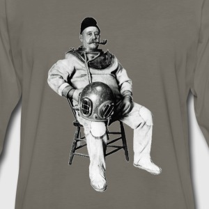 Vintage Diver with Diving Helmet and Pipe - Men's Premium Long Sleeve T-Shirt