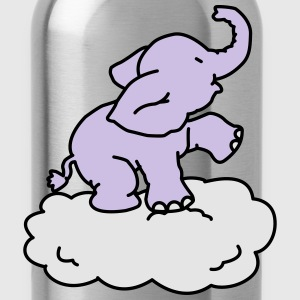 Happy Elephant on cloud (3 colors) Kids' Shirts - Water Bottle