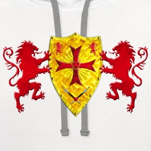 Knights Templars Crusaders Lions weapon shield men - Contrast Hoodie