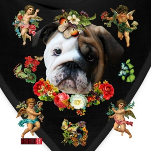 English British Bulldog Bully Angel Flowers Heart  - Bandana