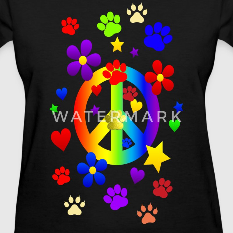PEACE SIGN & PAWS - Women's T-Shirt