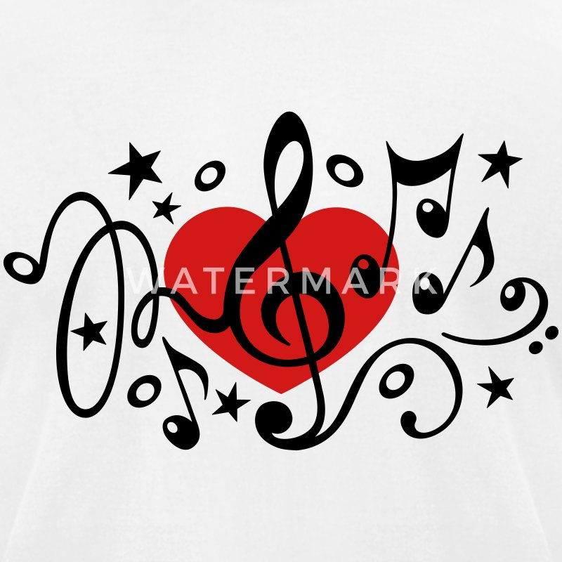 Music heart note I love classic choir star clef  T-Shirts - Men's T-Shirt by American Apparel