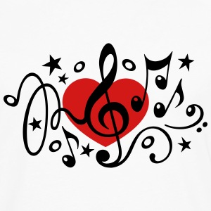 Music heart note I love classic choir star clef  Hoodies - Men's Premium Long Sleeve T-Shirt