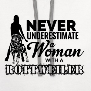 Never Underestimate a Woman with a Rottweiler - Contrast Hoodie