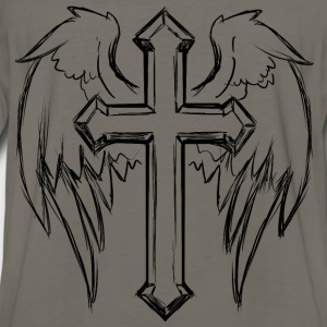 Cross With Wings Line Art - Men's Premium Long Sleeve T-Shirt