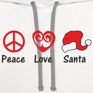 Peace Love Santa T-Shirts - Contrast Hoodie