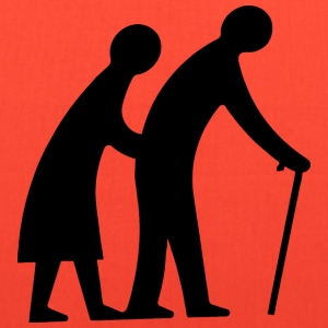 Old Couple Walking Silhouette - Tote Bag
