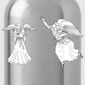 Two Female Angels Line Art - Water Bottle
