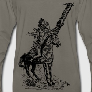 Native American Man on a Horse - Men's Premium Long Sleeve T-Shirt