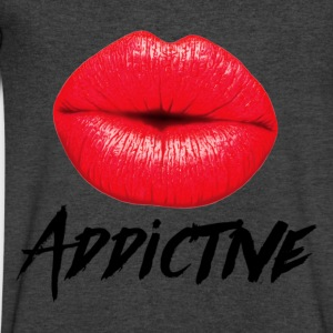 Red Lips Lipstick Addictive  Long Sleeve Shirts - Men's V-Neck T-Shirt by Canvas