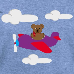 Funny bear flying by plane Baby Bodysuits - Women's Wideneck Sweatshirt