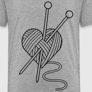 i love crochet knitting yarn heart wool Kids' Shirts - Toddler Premium T-Shirt